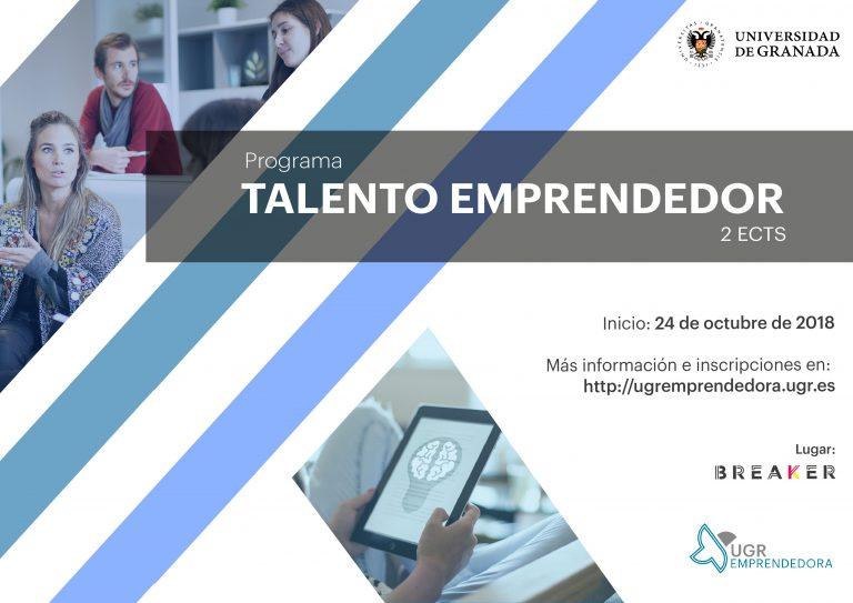 El Programa Formativo Talento Emprendedor UGR abre su periodo de inscripciones