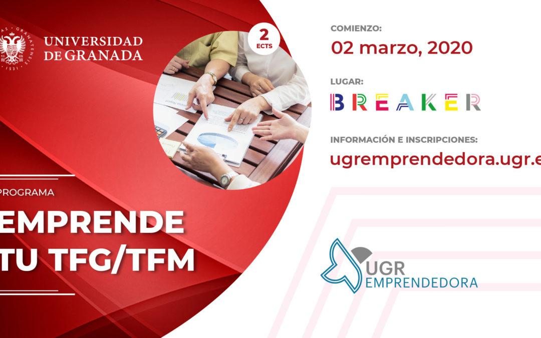 Abierto el plazo de inscripción en el programa Emprende tu TFG/TFM