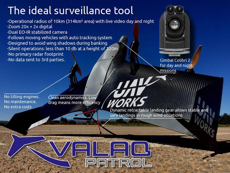 El dron VALAQ de la empresa UAV Works, reconocido como uno de los diez mejores sistemas UAVs de Europa por la Aerospace Defense Review