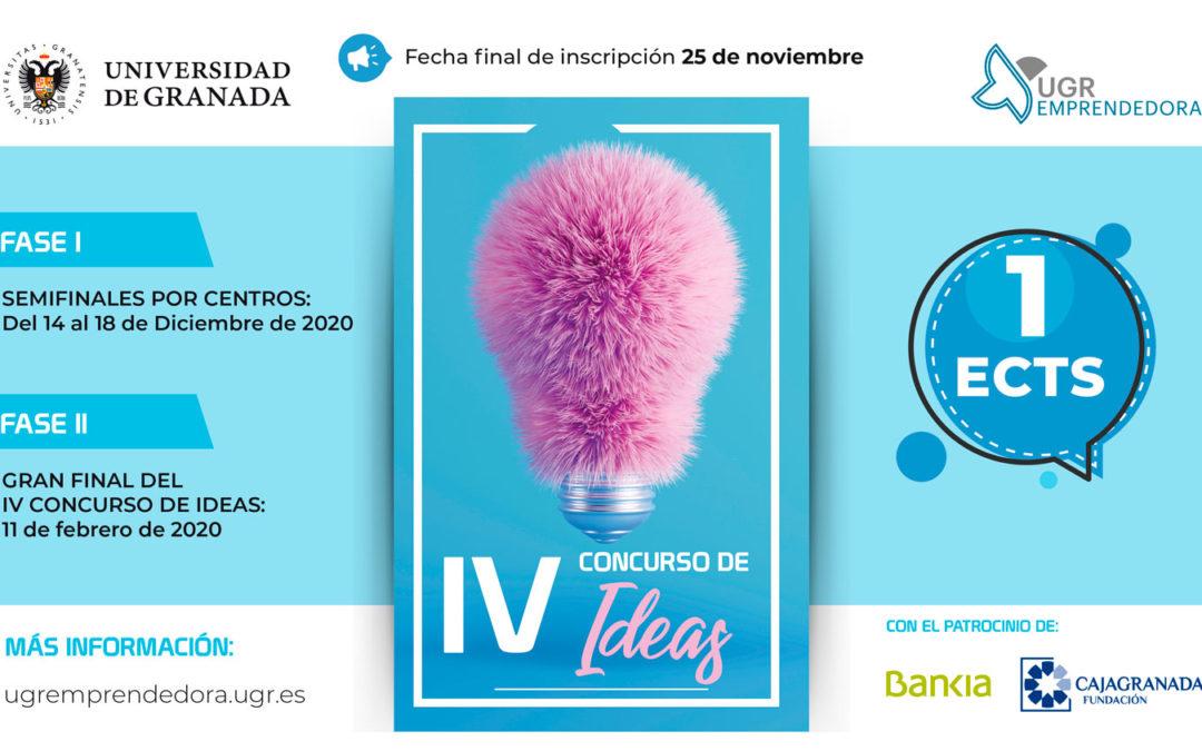 Abiertas las inscripciones para el IV Concurso de Ideas. Dirigido a estudiantes, PDI, PAS o Alumni titulados por la Universidad de Granada